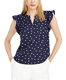 Dot-Print Split-Neck Top, Created for Macy's