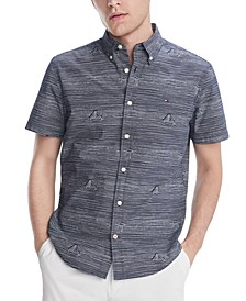 Men's Custom-Fit Sail Boat Wave Print Short Sleeve Shirt