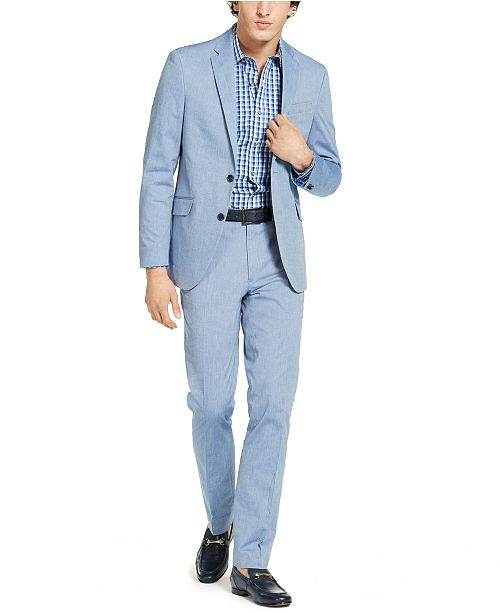 Kenneth Cole Men's Slim-Fit Stretch Chambray Suit, Created for Macy's