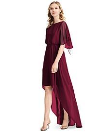 Flutter-Sleeve High-Low A-Line Dress