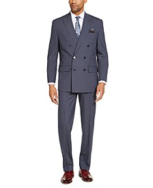Men's Classic-Fit Blue Pinstripe Double Breasted Suit Separates
