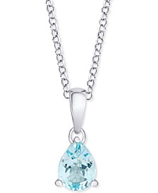 "Blue Topaz (1-3/8 ct.t.w.) Pear 18"" Pendant Necklace in Sterling Silver"