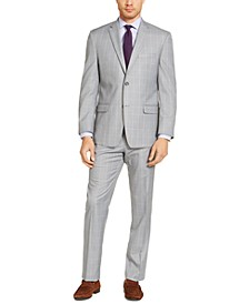 Men's Modern-Fit Light Gray & Lavender Windowpane Suit