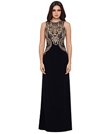 Embellished-Bodice Gown