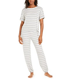 Printed Side-Tie Sleep T-shirt & Sleep Jogger Pants, Created for Macy's