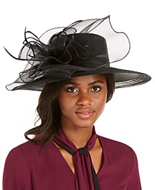 Wide-Brim Braided Dressy Hat