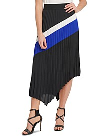 Colorblocked Pleated Asymmetrical Skirt