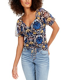 INC Printed Ruched-Front Top, Created for Macy's