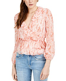 Ditsy Puff-Sleeve Wrap Top, Created for Macy's