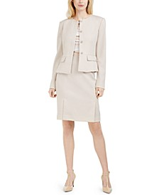 Peplum-Hem Blazer, Striped Top & Pencil Skirt