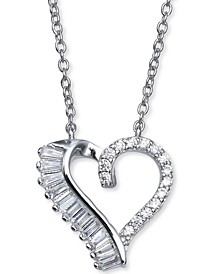 """Cubic Zirconia Open Heart 18"""" Pendant Necklace in Sterling Silver, Created for Macy's"""