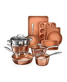 Hammered 15-Pc. Complete Cookware and Bakeware Set