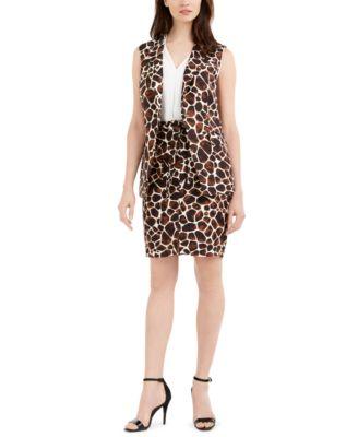 Giraffe-Print Tie-Belt Pencil Skirt