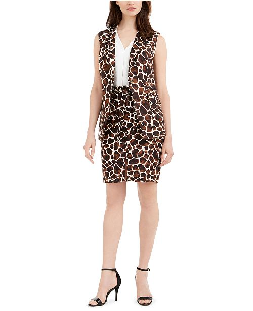 Calvin Klein Printed Sleeveless Blazer & Tie-Belt Pencil Skirt