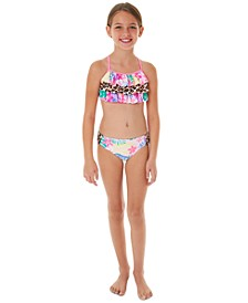 Big Girls 2-Pc. Mixed Print Ruffle-Trim Bikini