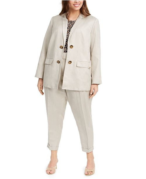 Calvin Klein Plus Size Open-Front Jacket, Animal-Print Top & Ankle Pants