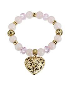Semi-Precious Rose Quartz Filigree Puff Heart Stretch Bracelet
