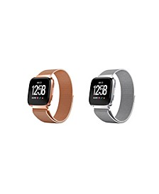 Unisex Loop Fitbit Versa Assorted Stainless Steel Watch Replacement Bands - Pack of 2