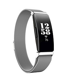 Unisex Fitbit Inspire Silver-Tone Stainless Steel Watch Replacement Band