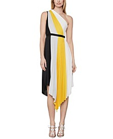 Plisse Colorblock Dress