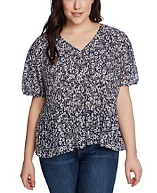 Trendy Plus Size Wildflower Bouquet Pleated Top