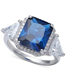 Cubic Zirconia Blue Halo Statement Ring in Sterling Silver