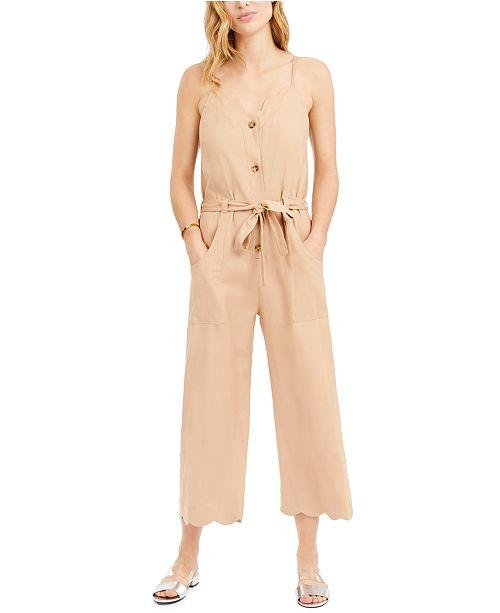 Monteau Petite Sleeveless Linen-Blend Jumpsuit
