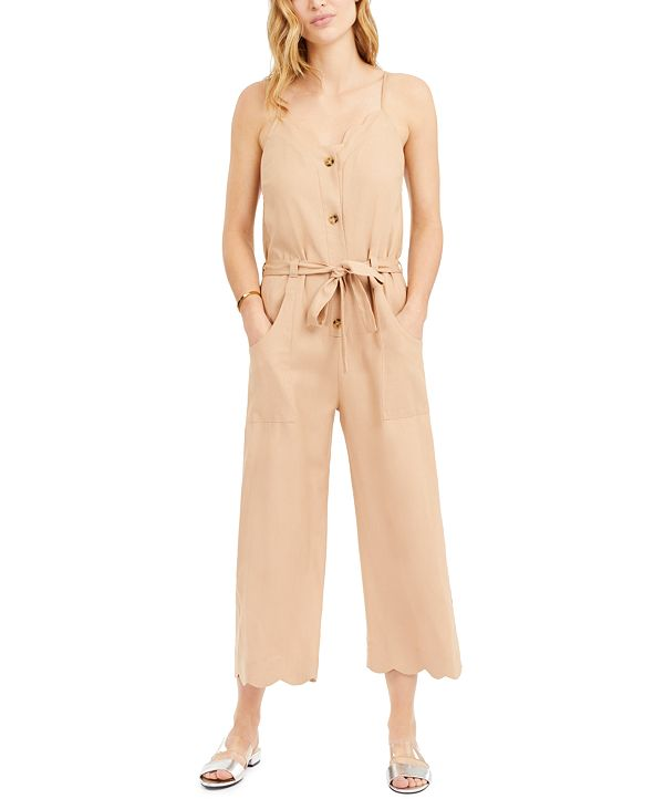 Monteau Petite Sleeveless Linen-Blend Jumpsuit