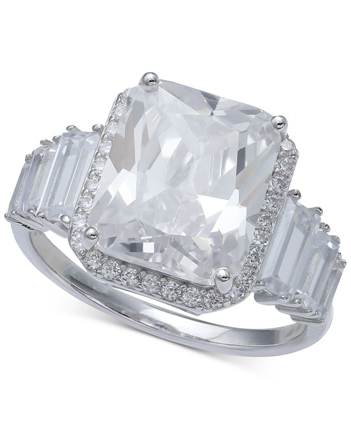Macy's - Cubic Zirconia Statement Ring in Sterling Silver