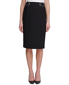Button-Tab Pencil Skirt
