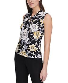 Floral-Print Twist-Neck Top