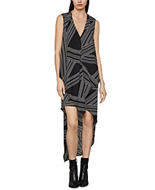 Abstract-Print High-Low Dress
