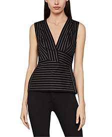 BCBGMAXAZRIA Ponté-Knit Striped Peplum Top