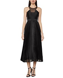 High-Neck Pleated-Skirt Dress