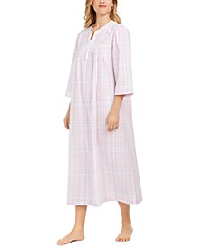 Embroidered Zip Front Seersucker Long Robe