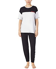 Colorblocked Sleep T-Shirt & Cropped Jogger Pants Set