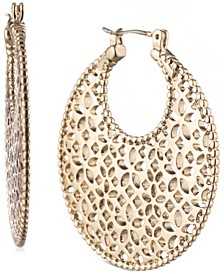Gold-Tone Medium Filigree Hoop Earrings, 1-1/2""