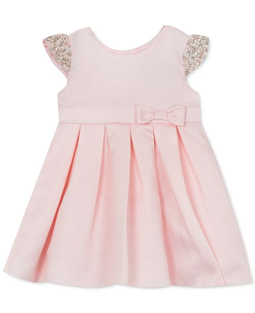 Rare Editions Baby Girls Satin Beaded Cap-Sleeve Dress