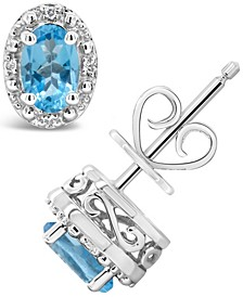 Swiss Blue Topaz (1-1/8 ct. t.w.) and Diamond Accent Stud Earrings in Sterling Silver