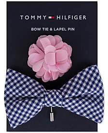 Men's Gingham Bow Tie & Floral Lapel Pin