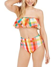 Ruffle Bandeau Bikini Top & High-Waist Bikini Bottoms