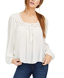 Juniors' Square-Neck Peasant Top