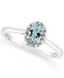 Diamond Accent and Aquamarine (3/8 ct. t.w.) Ring in Sterling Silver (Also Available in Other Gemstones)