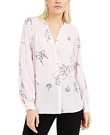 Printed Inset-Detail Blouse, Created for Macy's
