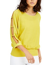 Gauze Cutout-Sleeve Top, Created For Macy's