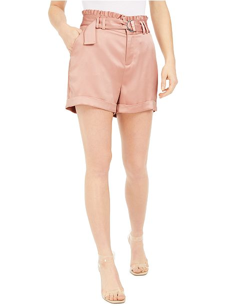 Bar III Belted Satin Shorts, Created for Macy's
