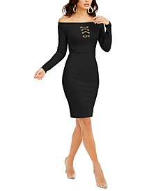 Off-The-Shoulder Lace-Up Scuba Dress, Created for Macy's