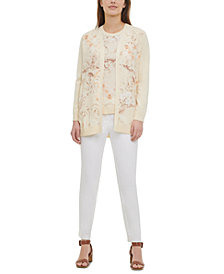 Calvin Klein Printed Open-Front Cardigan