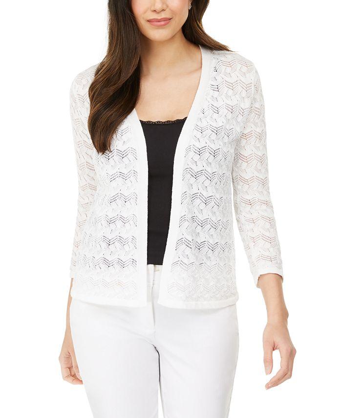 JM Collection - Pointelle Stitch Cardigan Sweater