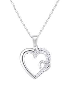 Cubic Zirconia Double Heart Pendant In Fine Silver Plate